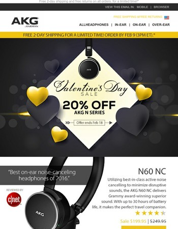 Sweet Sale: 20% Off AKG N Series + Free 2-day Shipping
