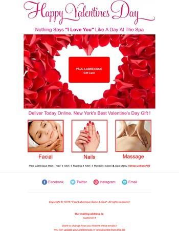 Valentine's Day Gift Card Deliver Today - Paul Labrecque Salon & Spa