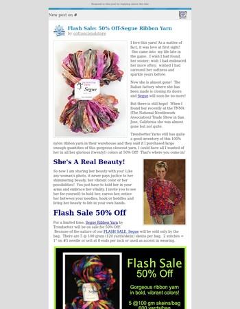 [New post] Flash Sale: 50% Off-Segue Ribbon Yarn