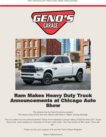 Geno's Garage Update - Ram Introduces 2017 'Night' Styling Package