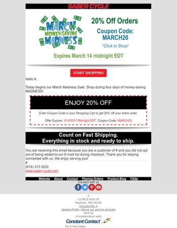 March Madness Money-Saving Sale!