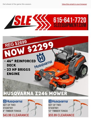 Early Spring Savings from SLE Equipment