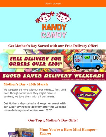 Free Delivery on Orders Over £20!