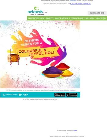 Netmeds Wishes You A Colourful & Joyful Holi