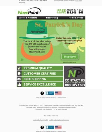 St. Patrick's Day Sale @ NavePoint.com
