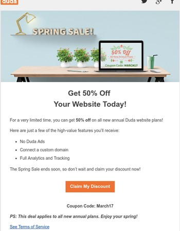 Spring Sale: All New Duda Annual Plans 50% Off!