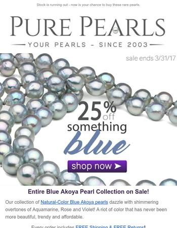 Blue Akoya pearls - Stock running low