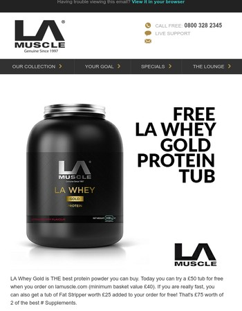 Try LA Whey Gold Protein and Fat Stripper for free today - hurry!