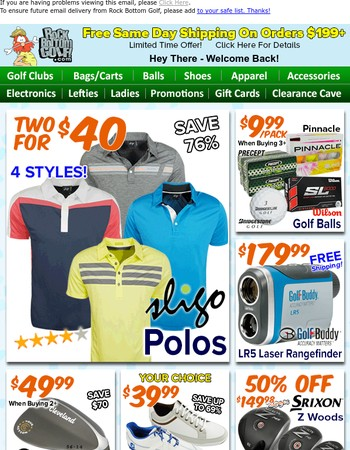 2 FOR $40 Sligo Polos, $9.99/Doz Golf Balls & 50% OFF Srixon Woods!