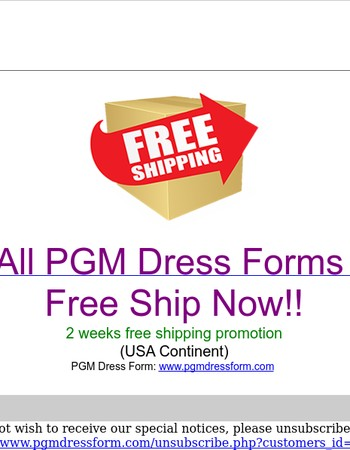 PGM Dress Form 2 weeks Free shipping Promotion