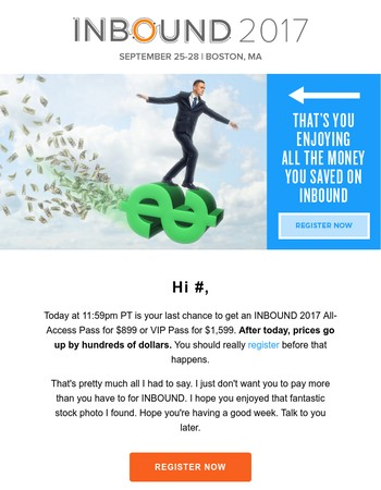 LAST DAY to save $800 on INBOUND
