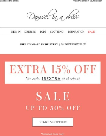 Enjoy an extra 15% off sale