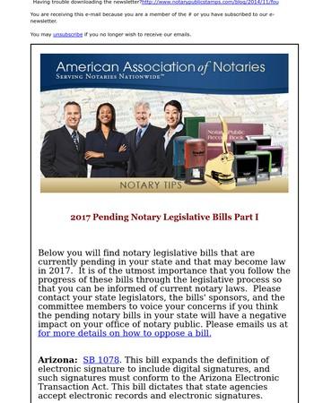 2017 Pending Notary Legislative Bills