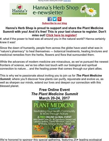 Last Chance to Register! Plant Medicine Summit: Restore Balance & Experience Deep Healing