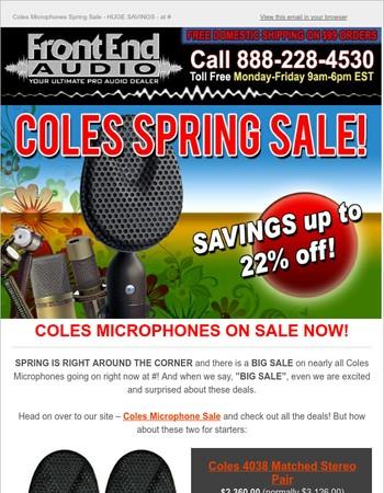Coles Microphones Spring Sale - HUGE SAVINGS - at Front End Audio