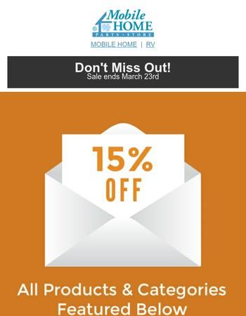 15% Off Mobile Home Lavatory Faucets, Aluminum Storm Doors & More!