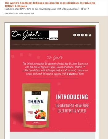 OOPS! We fixed the link to see the world's new healthiest lollipops, THRIVE!