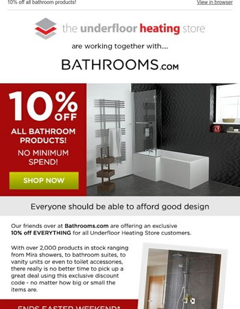 10% off all bathroom products!