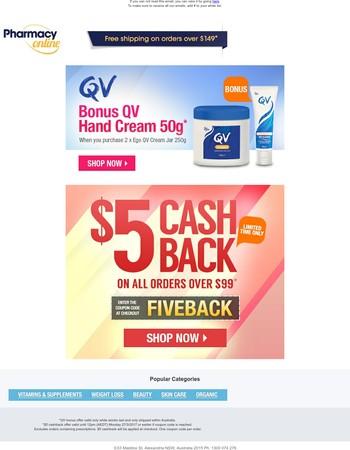 Bonus QV Hand Cream   $5 Cashback Offer - Limited time only