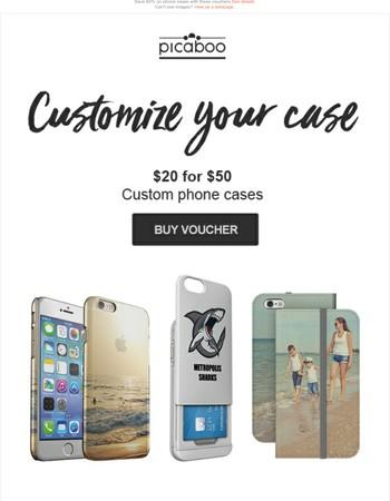 Save 60% on custom phone cases!