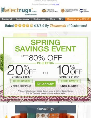 Visitor, Spring Savings start NOW ➨ Code for EXTRA 20% inside