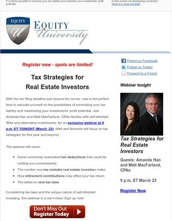 [Tonight] Tax Strategies for Real Estate Investors