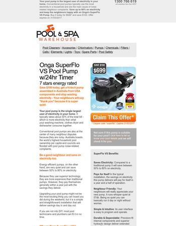 ----, $100 Off  SuperFlo VS Energy Efficient Pool Pump (Expires 31/03/2017)