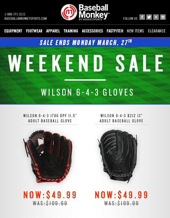[Weekend Sale] Save BIG On Wilson 6-4-3 Baseball Gloves