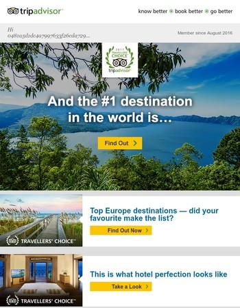 New #1 destination in the world