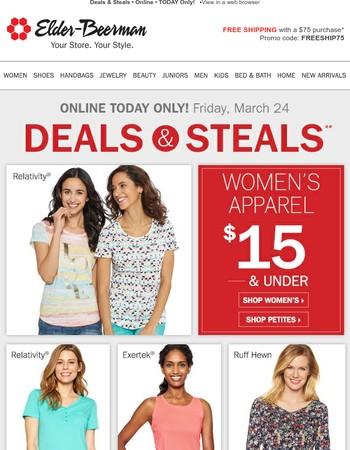 Women's Apparel $15 & Under