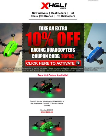 Get Extra 10% Off TopRC Racing Drones Now!