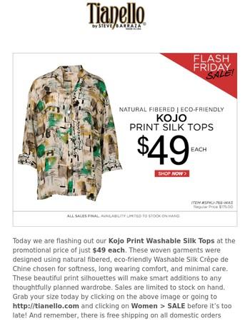 Flash Friday Sale! Kojo Print Washable Silk Tops