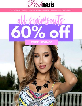 All swimsuits 60% off