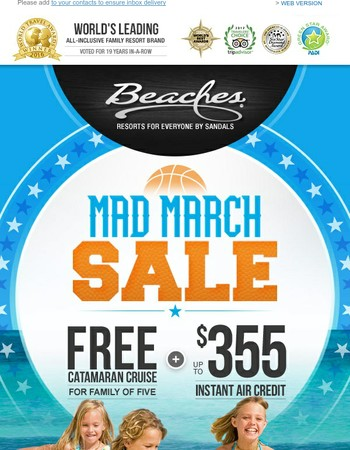 Mad March Sale-Get a Catamaran Cruise for 5 + Extra Savings!