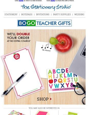 BOGO Deals on Teacher Gifts, Stationery & More