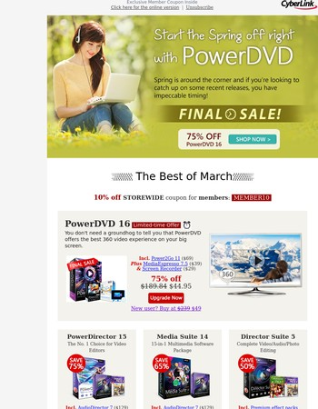 Let's March on with big savings: PowerDVD 16 Final Sale & More Await You!