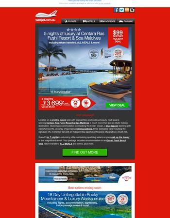 New! Centara Ras Fushi Resort & Spa Maldives - deposit for only $99   Best sellers ending soon