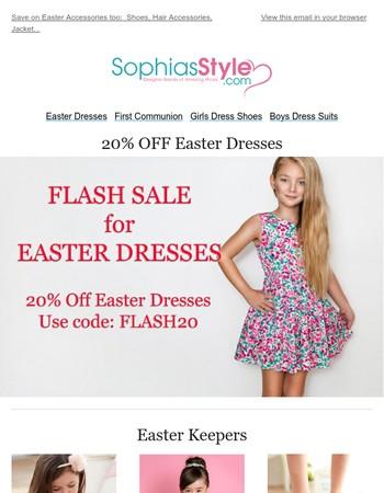FLASH SALE EXTENDED!  20% Off Easter Dresses until 11:59pm CDT
