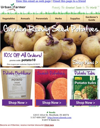 Now Shipping Seed Potatoes! Order Now 10% Off.