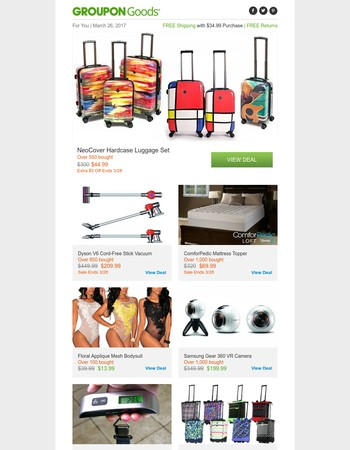 NeoCover Hardcase Luggage Set, Dyson V6 Cord-Free Stick Vacuum, ComforPedic Mattress Topper & More