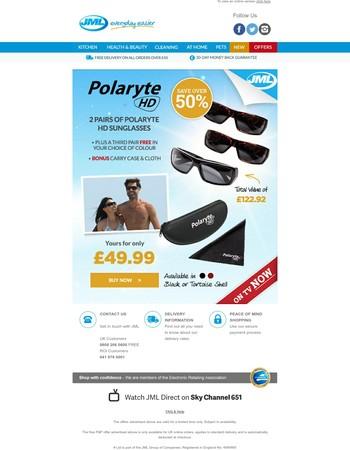 FREE pair of Polaryte HD sunglasses!