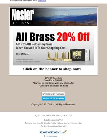 20% Off Brass Sale Final Days