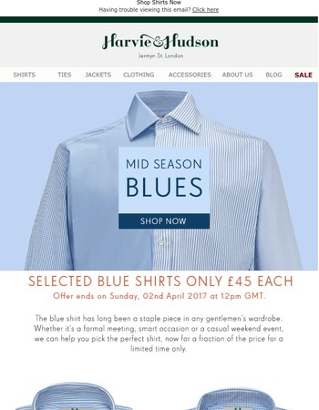 Mid Season Blues | Shop £45 Shirts