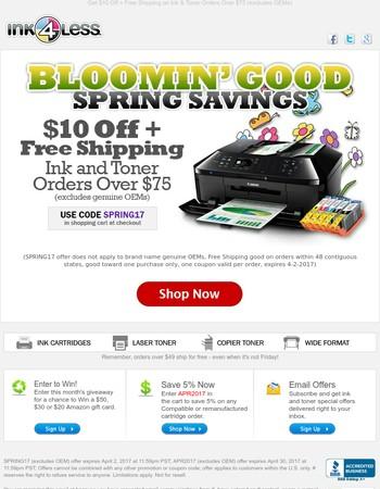 Enjoy Bloomin' Good Savings on Ink & Toner Cartridges!