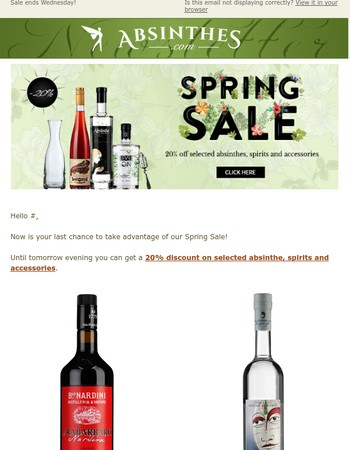 Last chance: Get 20% off a selection of absinthes, spirits and more