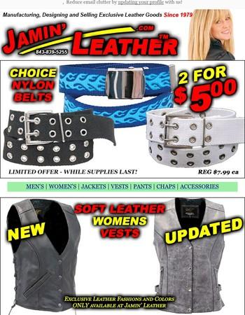 Heavy Nylon Belts 2/$5.00 for