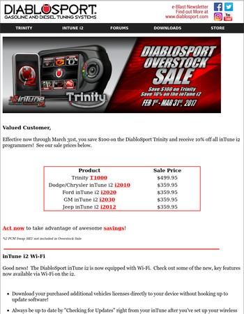 Save Big and Enjoy Wi-Fi on DiabloSport's inTune i2!