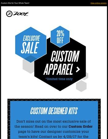 20% OFF   Design Your Team's Kit!