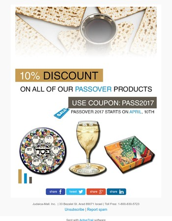 Passover 2017 10% Discount on all of our Passover Products