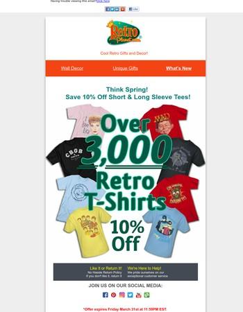 Think Spring & Save 10% Off Short & Long Sleeve T-Shirts at Retro Planet